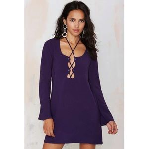 Nasty Gal Dark Purple Mercedes Binge Lace Up Dress